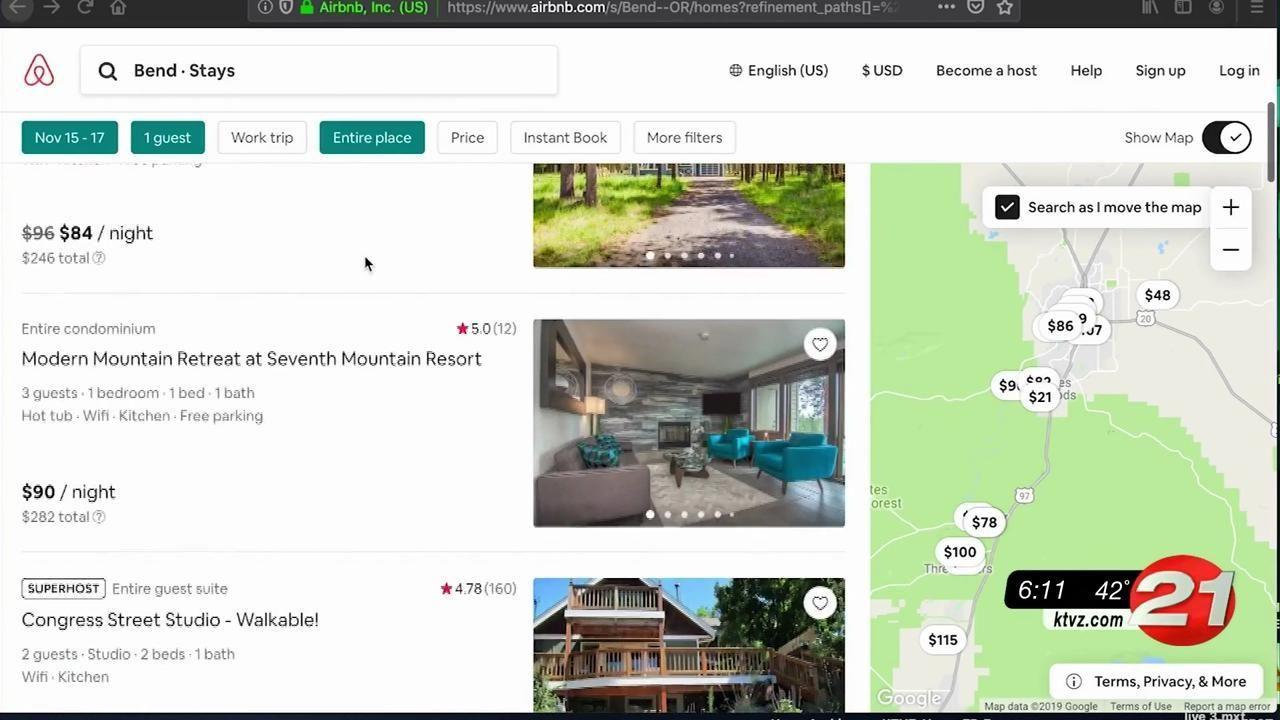 Bend Airbnb listings