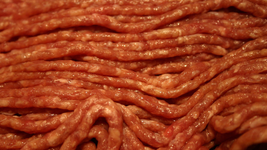 Ground beef, raw meat closeup