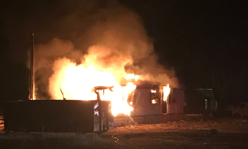 Fire destroys mobile home NW of Madras