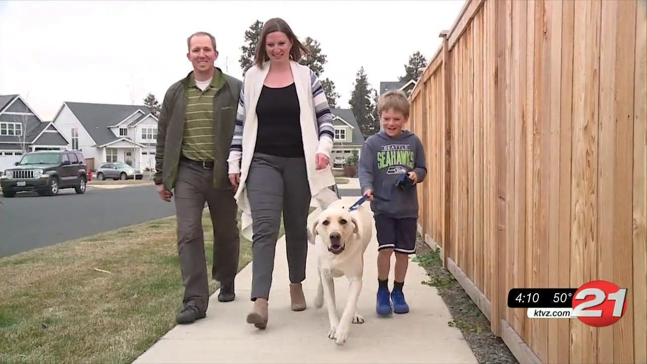 Rescued dog Nash and new family