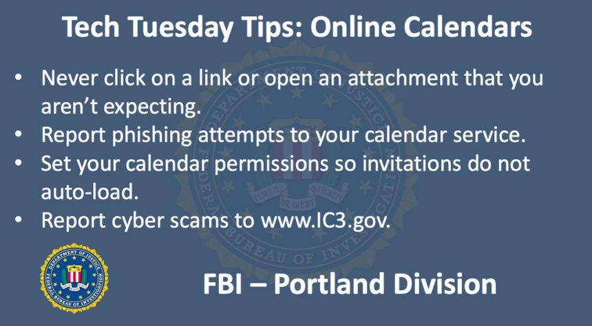 Oregon FBI Tech Tuesday online calendar fraud