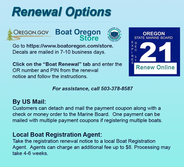 Oregon boating registration renewal options