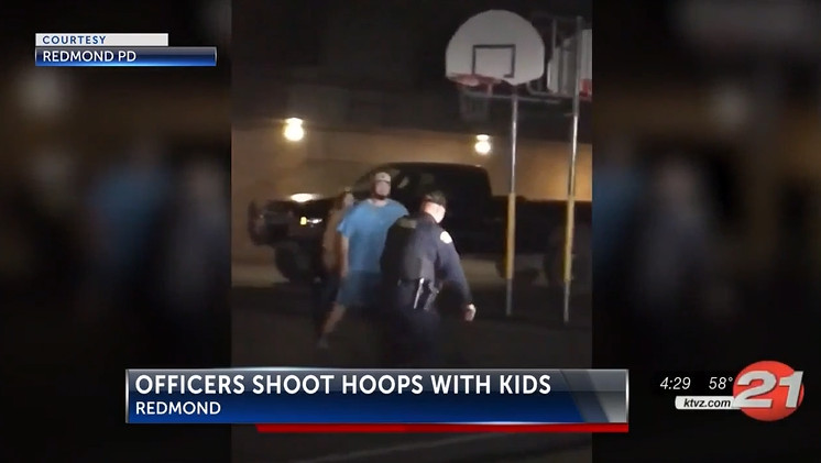 Redmond police play basketball