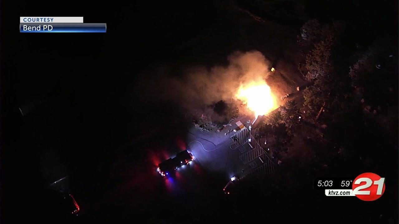 Bend police shared drone footage of fire early Sunday at Ponderosa Park